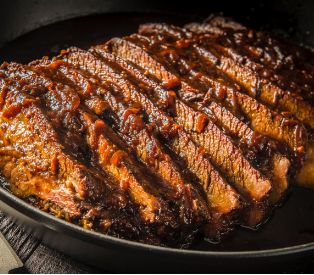 Treager Hickory Hardwood Smoked BBQ Brisket with Beef Rub coating